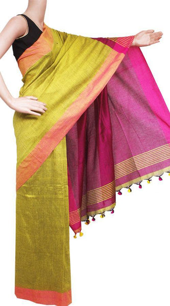 Pure Khadi Cotton Saree (Plain) with contrast pallu - 62010A, Sarees - Swadeshi Boutique