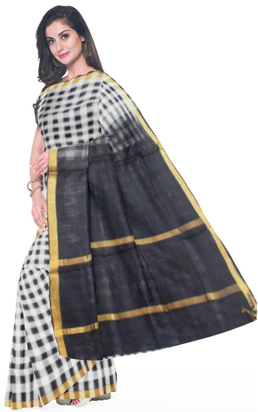 Kanchipuram Pure Silk cotton sarees with Pochampalli pallu and Zari Border -  (64007E) * Sale *, Sarees - Swadeshi Boutique