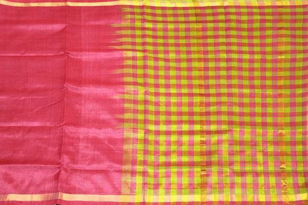 Kanchipuram Pure Silk cotton sarees with attractive pallu and Zari Border - (64007M)