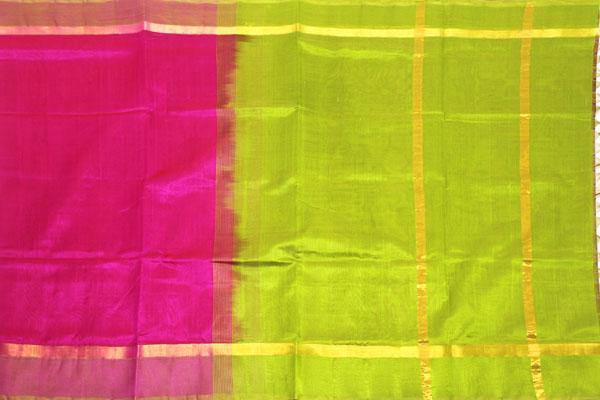 Kanchipuram Pure Silk cotton sarees with Pochampalli pallu and Zari Border -Pink  (64010A)