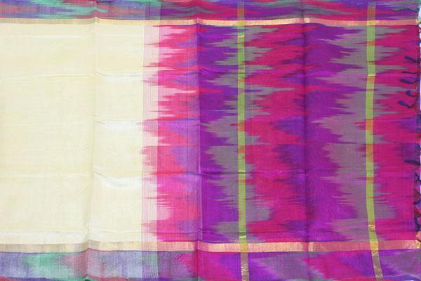 Kanchipuram Pure Silk cotton sarees with Pochampalli pallu and Zari Border -  (64028A)