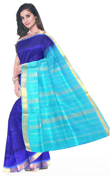Kanchipuram Pure Silk cotton sarees with attractive pallu and Zari Border - (64041A), Sarees - Swadeshi Boutique