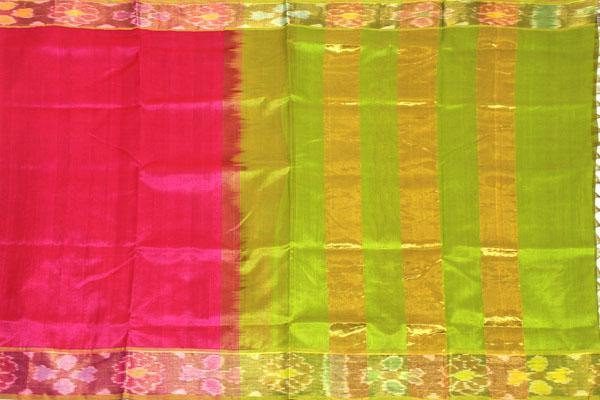 Kanchipuram Pure Silk cotton sarees with attractive pallu and Pochampally Border - (64047A)