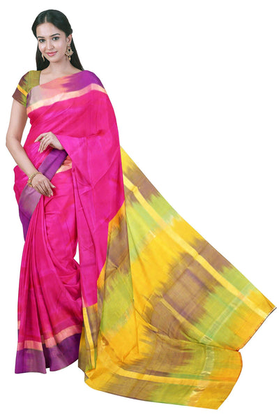 Kanchipuram Pure Silk cotton sarees with attractive pallu and Zari Border - (64059A) * Sale *, Sarees - Swadeshi Boutique