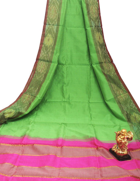 Tripura Pure Silk cotton sarees with attractive pallu and Pochampally Border - (64107A), Sarees - Swadeshi Boutique