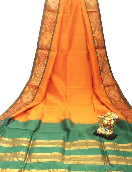 Tripura Pure Silk cotton sarees with attractive pallu and Pochampally Border - (64115A)