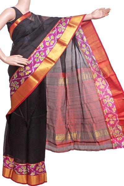 Mangalagiri Pure Silk cotton sarees with Pochampalli Fancy Golden Border - (64502A) - Swadeshi Boutique