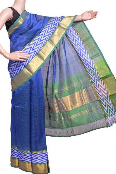 Mangalagiri Pure Silk cotton sarees with Pochampalli Fancy Golden Border - (64503A) - Swadeshi Boutique