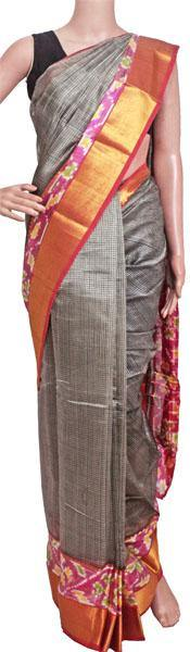 Mangalagiri Pure Silk cotton sarees with Pochampalli Fancy Golden Border - (64504A) - Swadeshi Boutique