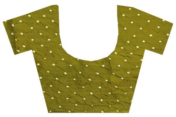 Bandhani cotton Blouse material with attractive dots (Olive Green) - 65510A, Blouse - Swadeshi Boutique