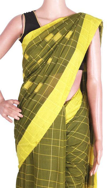 Khadi cotton saree with Box design in All over Body -66001D*Rs.100 off*, Sarees - Swadeshi Boutique