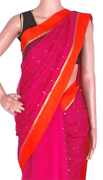 Silk Cotton saree with sequence work - 68002A*New arrival!Rs.200 Off *