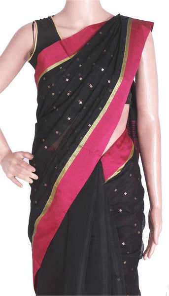 Silk Cotton saree with Sequence work - 68003A*New arrival! Rs.200 Off *, Sarees - Swadeshi Boutique