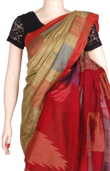 Silk Cotton saree with Temple Border - 68016A*New arrival! Rs.200 Off * - Swadeshi Boutique