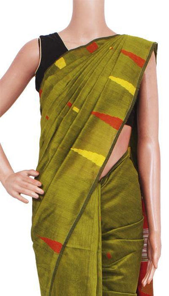 Silk Cotton saree with Contrast Pallu (olive green)- 68035A, Sarees - Swadeshi Boutique