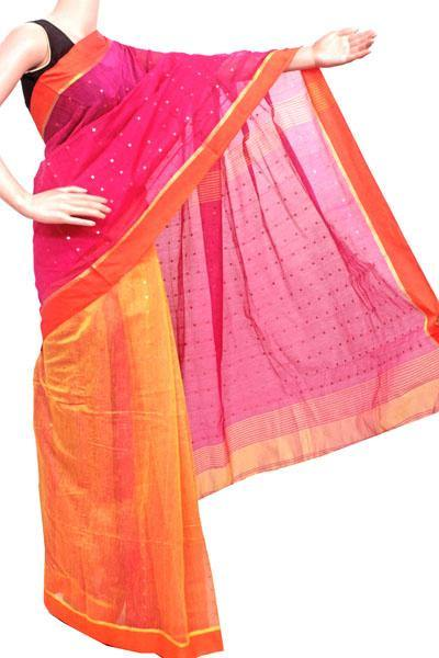 Silk Cotton saree with Sequence work - 68043A*New arrival! Rs.200 Off *, Sarees - Swadeshi Boutique