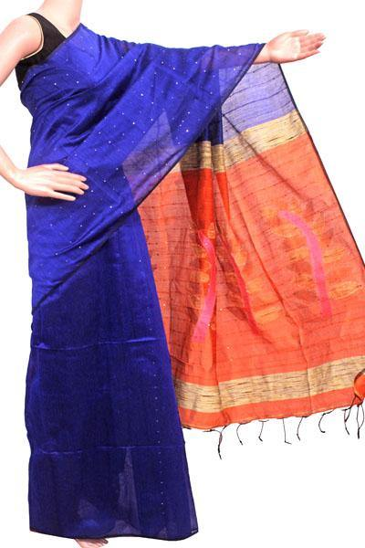 Silk Cotton saree with Sequence work - 68045A*New arrival! Rs.200 Off *, Sarees - Swadeshi Boutique