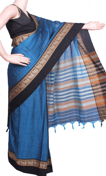 Narayanpet Handloom pure cotton saree with an attached blouse material (71020A), Sarees - Swadeshi Boutique
