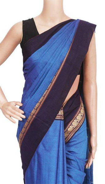 Narayanpet Handloom pure cotton saree with a beautiful attached blouse material (71028A)*Rs100 off*, Sarees - Swadeshi Boutique