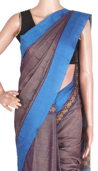 Narayanpet handloom cotton saree with an attached blouse material (71038A), Sarees - Swadeshi Boutique