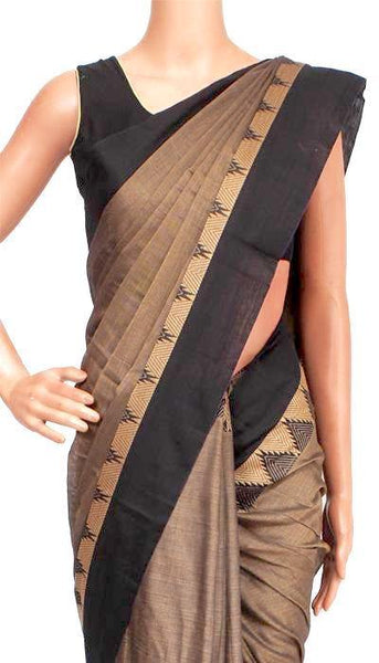 Narayanpet handloom cotton saree with an attached blouse material (71043A)