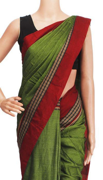 Narayanpet handloom cotton saree with an attached blouse material (71047A), Sarees - Swadeshi Boutique