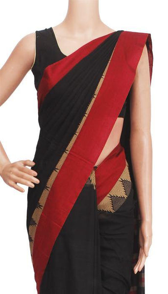 Narayanpet handloom cotton saree with an attached blouse material (71048A), Sarees - Swadeshi Boutique
