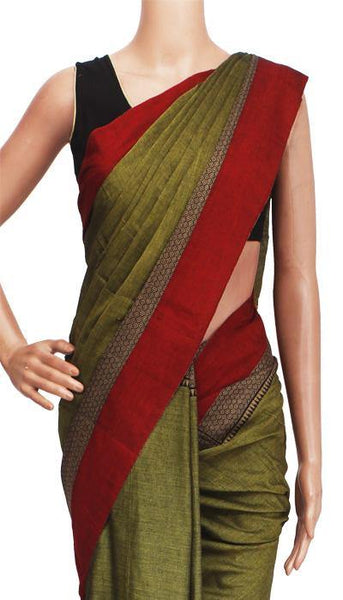 Narayanpet handloom cotton saree with an attached blouse material (71049A), Sarees - Swadeshi Boutique