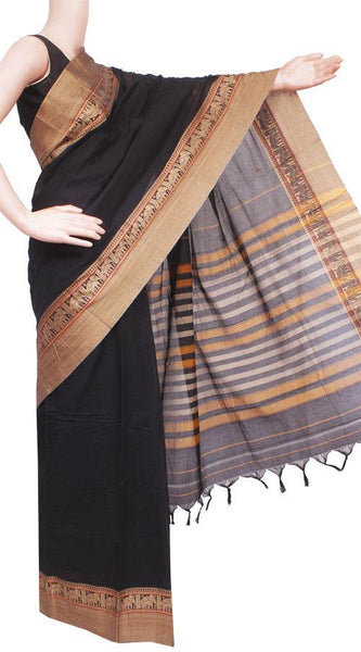 Narayanpet handloom cotton saree with an attached blouse material (71052A)