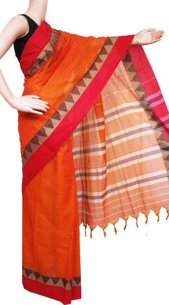 Narayanpet handloom cotton saree with an attached blouse material (71053A), Sarees - Swadeshi Boutique