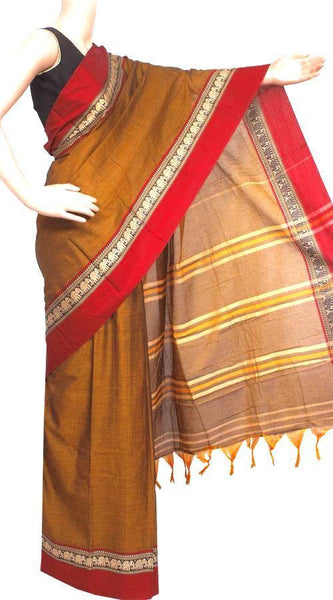 Narayanpet handloom cotton saree with an attached blouse material (71054A)