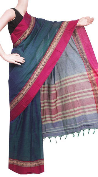 Narayanpet handloom cotton saree with an attached blouse material (71057A), Sarees - Swadeshi Boutique