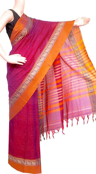 Narayanpet handloom cotton saree with an attached blouse material (71058A), Sarees - Swadeshi Boutique