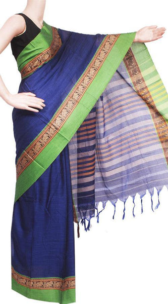 Narayanpet handloom cotton saree with an attached blouse material (71059A), Sarees - Swadeshi Boutique