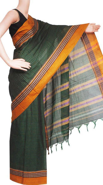 Narayanpet handloom cotton saree with an attached blouse material (71064A)