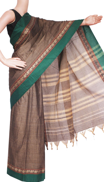 Narayanpet handloom cotton saree with an attached blouse material (71068A)