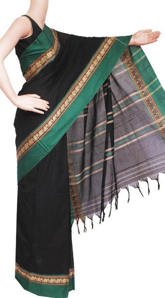 Narayanpet handloom cotton saree with an attached blouse material (71069A)