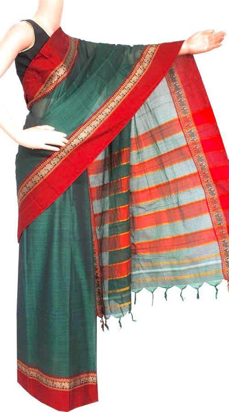 Narayanpet handloom cotton saree with an attached blouse material (71071A), Sarees - Swadeshi Boutique