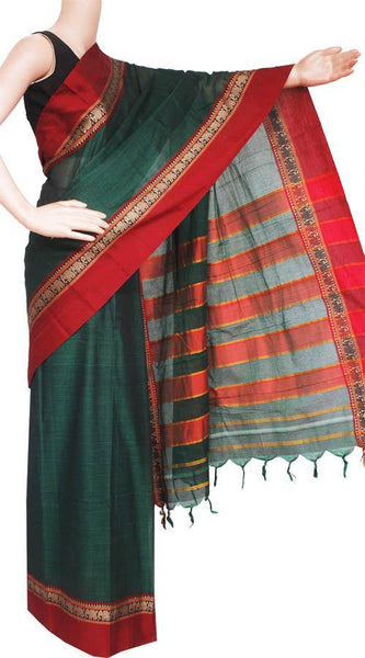 Narayanpet handloom cotton saree with an attached blouse material (71071A)