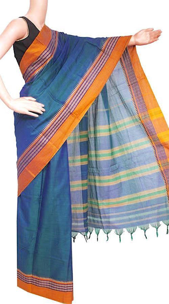 Narayanpet handloom cotton saree with an attached blouse material (71072A), Sarees - Swadeshi Boutique