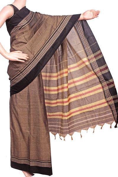 Narayanpet handloom cotton saree with an attached blouse material (71084A)