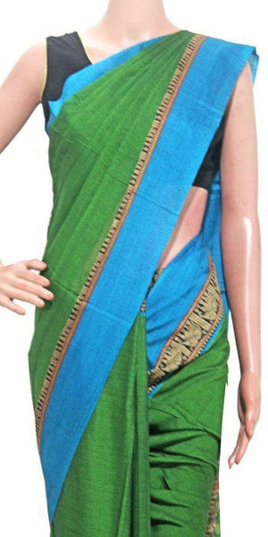 Narayanpet handloom cotton saree with an attached blouse material (71085A)
