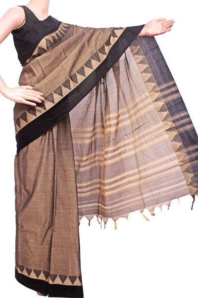 Narayanpet handloom cotton saree with an attached blouse material (71092A)