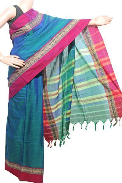 Narayanpet handloom cotton saree with an attached blouse material (71093A)