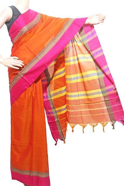 Narayanpet handloom cotton saree with an attached blouse material (71094A)