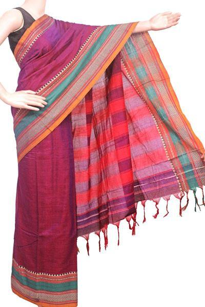 Narayanpet handloom cotton saree with an attached blouse material (71096A)