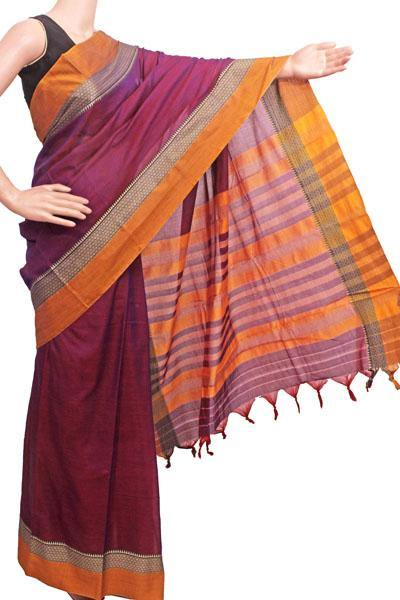 Narayanpet handloom cotton saree with an attached blouse material (71098A), Sarees - Swadeshi Boutique