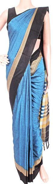 Narayanpet handloom cotton saree with an attached blouse material (71101A)