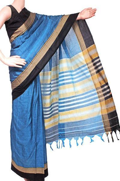 Narayanpet handloom cotton saree with an attached blouse material (71101A), Sarees - Swadeshi Boutique