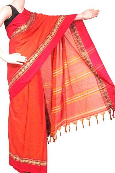 Narayanpet handloom cotton saree with an attached blouse material (71102A)